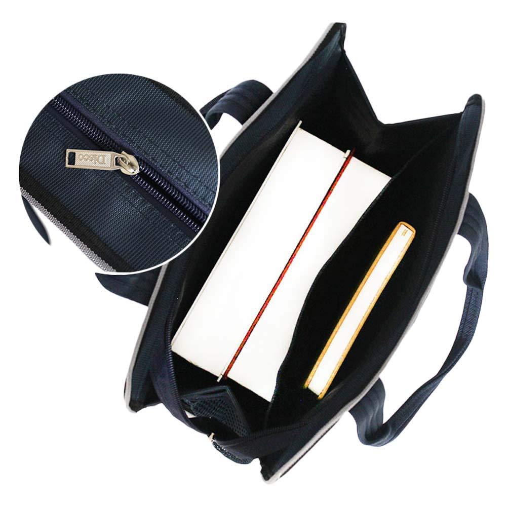SHENWE A4 File Bag Portable Professional Briefcase Bag with Handle for School Meeting File Folder File Organizer Bag,Blue