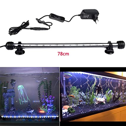DOCEAN 78cm Luz LED Acuario, Pantalla LED Acuario, 5050SMD 45LEDs Iluminacion LED para Acuarios
