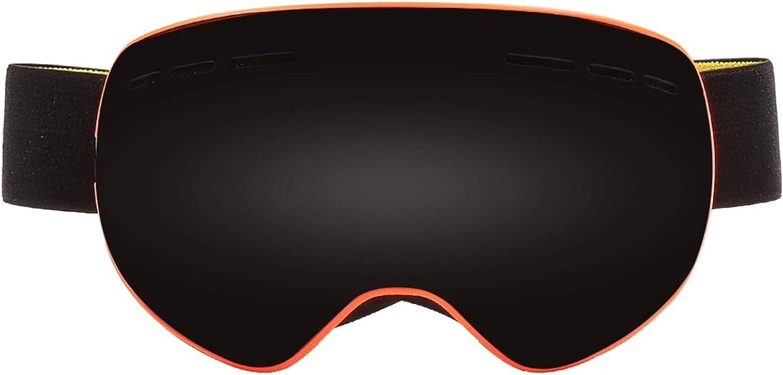 ゴーグル おとな マグネット 球面二重層 スキーゴーグル 多色 アダルト 大人 -AdiSaer オレンジ フレーム グレー