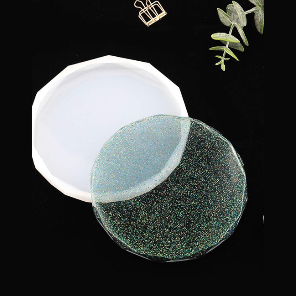 Hibye 4 Pcs//Set DIY Coaster Crystal epoxy Resin Mold Heart Diamond Shape Silicone Mold