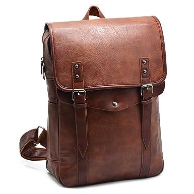 ca6f8fe087ba Vintage PU Leather Laptop Backpack Slim Travel Casual Daypack Bag School  Bookbag for Men & Women