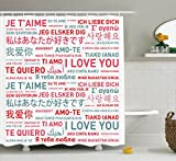 Ambesonne Love Decor Collection, Emotional Messages in Various World Languages Love Has No Walls or Culture Artsy Theme, Polyester Fabric Bathroom Shower Curtain Set, 75 Inches Long, White Grey Red