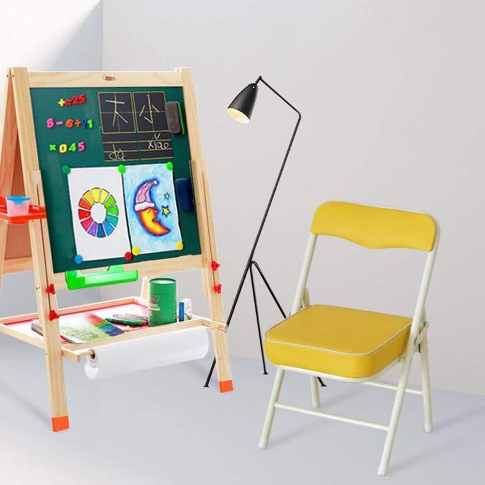 JIEER-C Fritid kontorsstol hopfällbar stol pall barn barnstol ryggstöd rörformig stålram PU lätt hållbar 33 x 28 x 53 cm hållbar stark GUL
