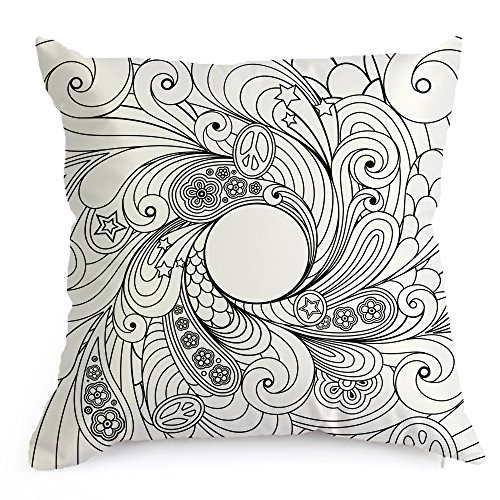 Whirlpool Flowers DIY Coloring Pillowcase Decoration, 18 Inch Square with A Set of 12 Doodle Color Pens, Creative Gift for Kids (Whirlpool)