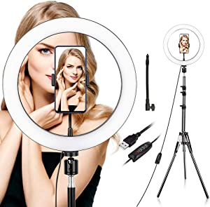 Ring Light with Stand and Phone Holder, 10 inch Dimmable Ring Light Kit with 3 Colors & 10 Brightness, USB Powered, Heighten Hose, Circle Light for iPhone, Selfie,Youtube Video, Live Streaming, Makeup