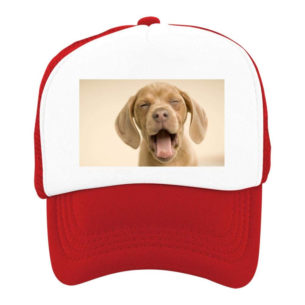 EThomasine Kids Girls Boys Mesh Cap Trucker Hats Puppy Adjustable Hat Red