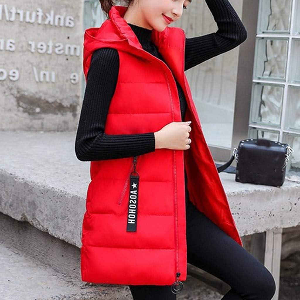 Rojo,X-Large Reooly Chaqueta de Moda para Mujer Chaqueta sin Mangas con Capucha Algod/ón Color s/ólido Cremallera Bolsillo Cuello Alto