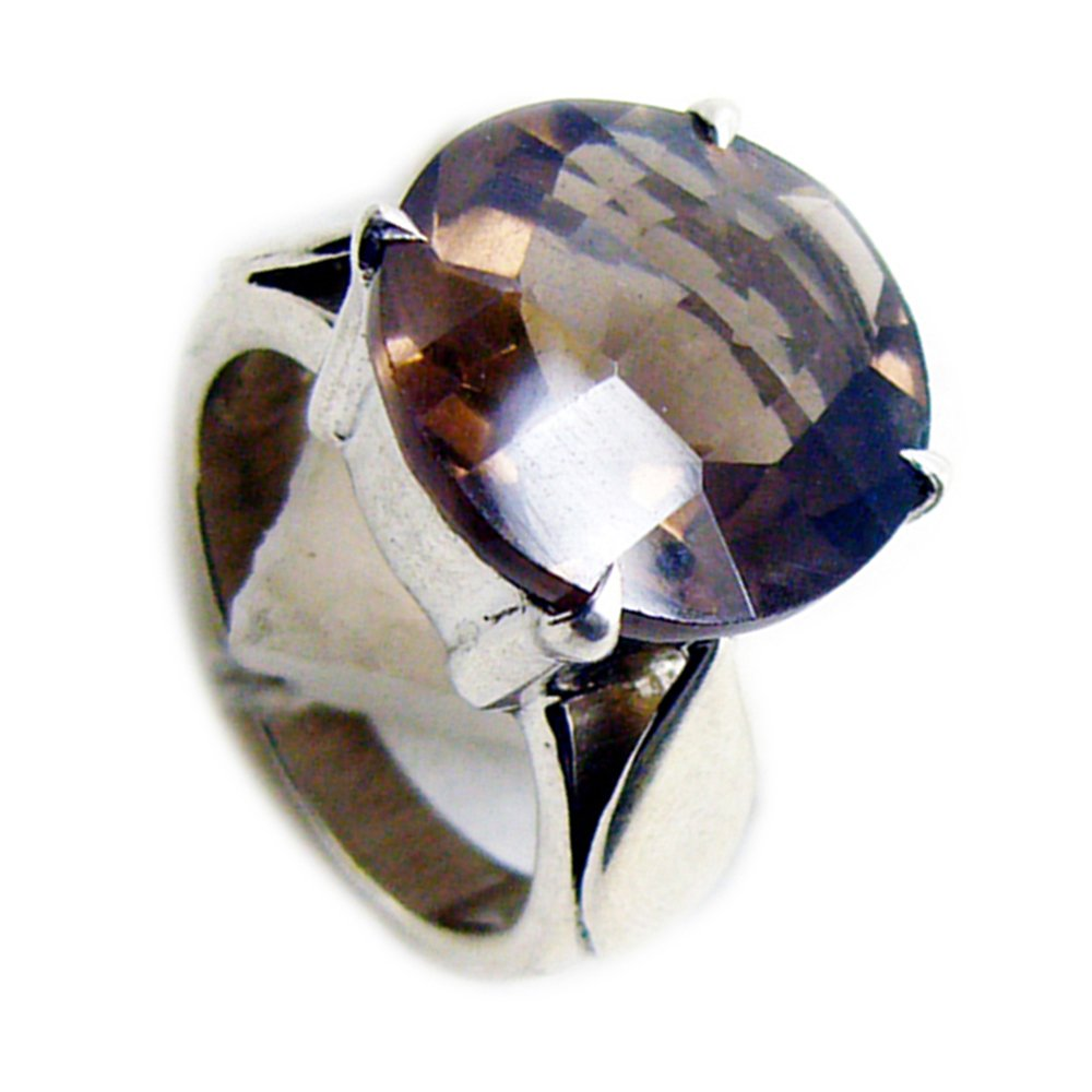 Jewelryonclick Round Genuine Smoky Quartz Ring Sterling Silver Prong-setting Jewelry Available Size 4-12