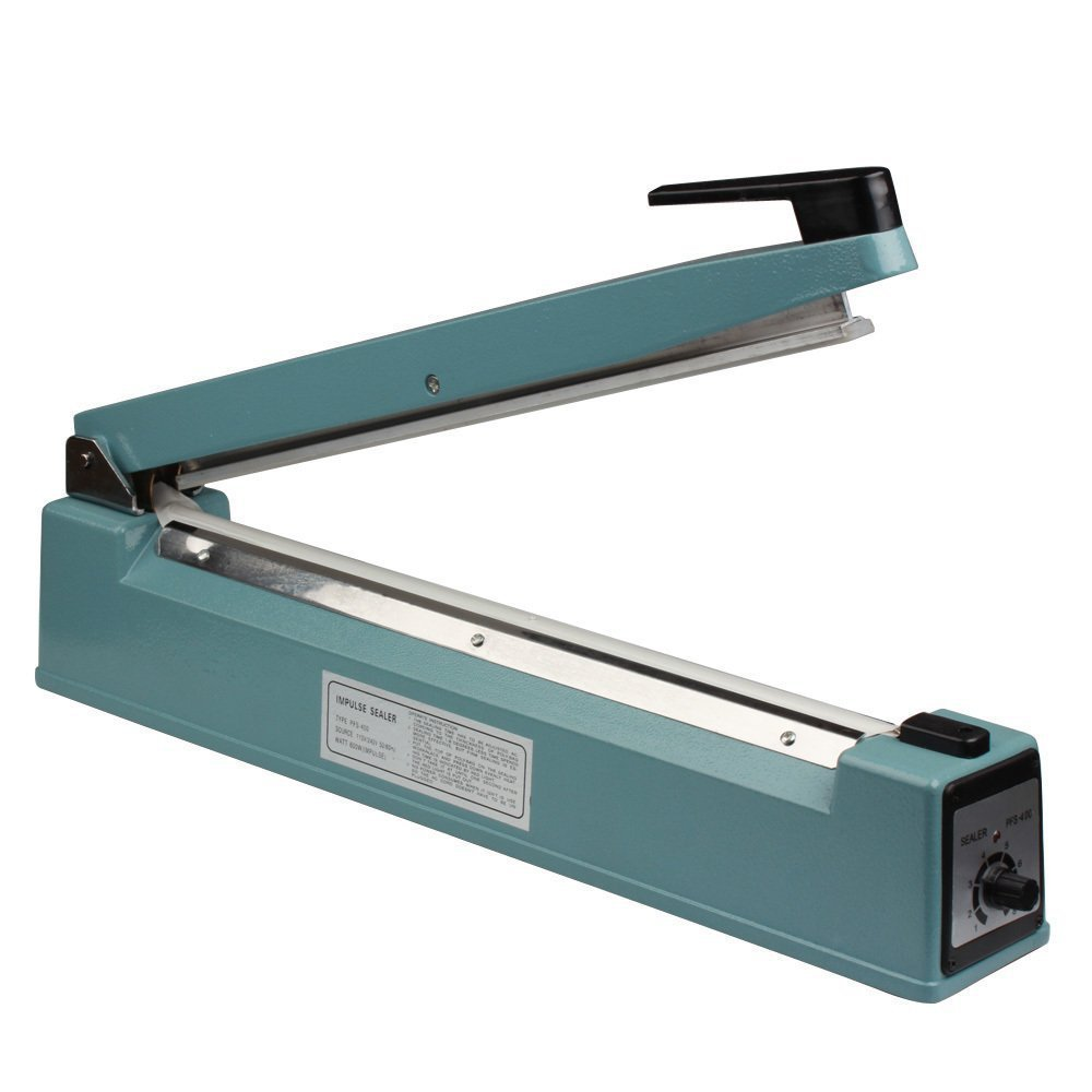 16'' (400mm) Impulse Sealer Anti-rust Iron Body Shell - Cellophane Bag Sealer with Spare Kit (Included)