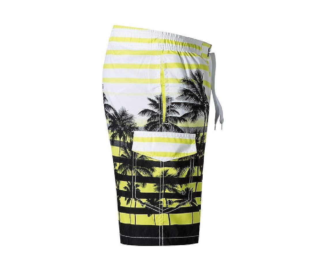 Vska Men Sporty Stylish Summer Coconut Tree Floral Print Boardshorts