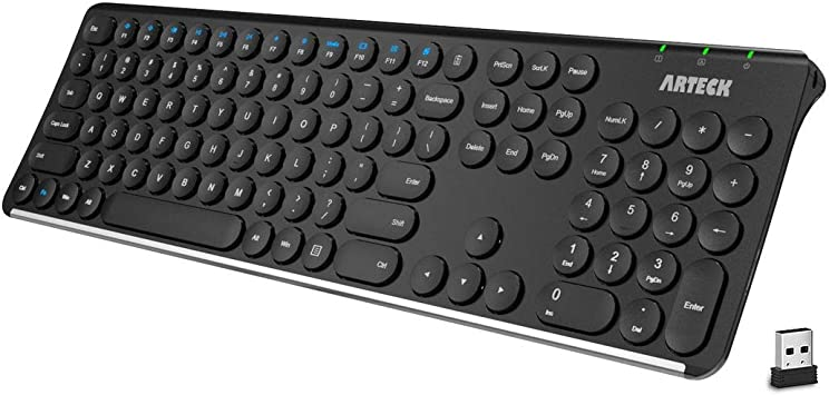 Arteck Teclado inalámbrico 2.4 G de acero inoxidable ultra delgado teclado de tamaño completo con teclado numérico para computadora/escritorio/PC/portátil/superficie/Smart TV y Windows 10/8/7 Batería recargable incorporada HW1943: Amazon.es: Electrónica