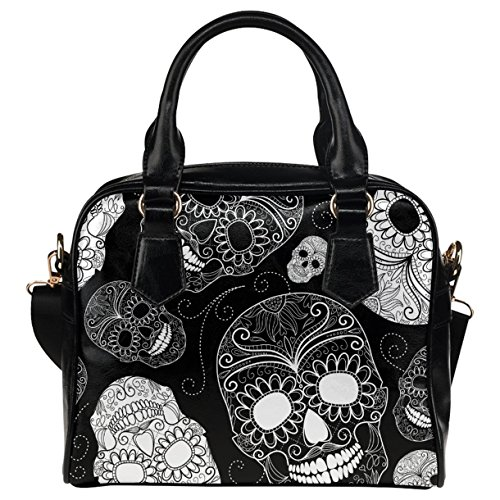 CASECOCO Black Floral Sugar Skull Women's PU Leather Purse Handbag Shoulder ()