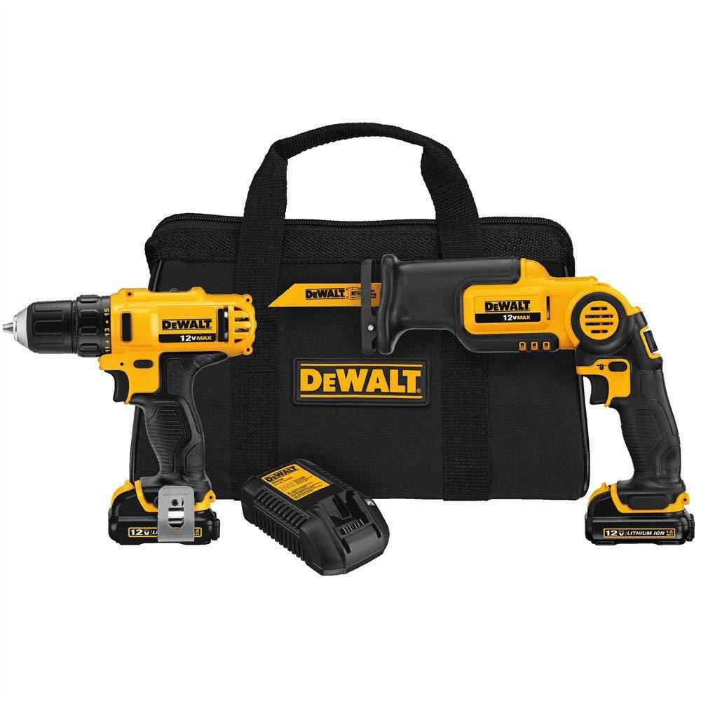 DEWALT DCK212S2R 12-Volt MAX Cordless Drill Driver and Reciprocating Saw Kit (Renewed)