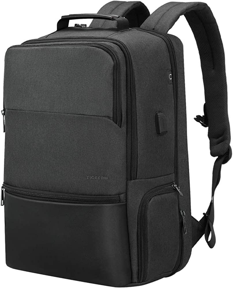 Expandable Laptop Backpack, Fintie Tigernu Flight Approved Carry-On Anti Theft Daypack Water Resistant Rucksack with USB Charging Earphone Ports for Travel Work College Men fits 17.3 inch Notebook