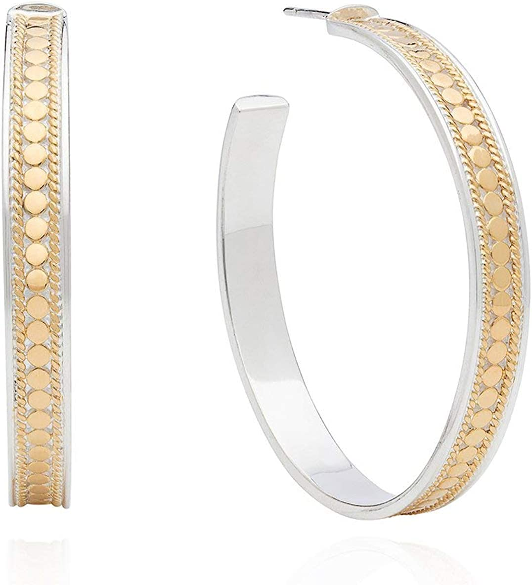 Anna Beck Earrings ~ Solid Sterling Silver Jewelry ~ Classics Collection ~ Bali Jewelry for Women ~ Large Hoop Post Earrings (Sterling Silver & Yellow Gold-Plating) 61NNLFDeIBLUL1184_