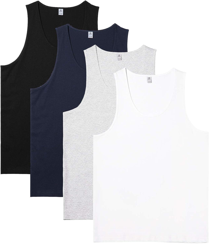 LAPASA Pack de 4 Camisetas de Tirantes Ropa Interior para Hombre de Algodón 100% (Gris: 90%, 10% Viscosa/Rayón) M36
