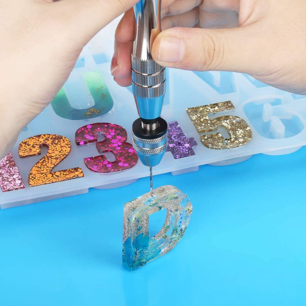 Resin Drill Pin Vise for Resin Casting Molds with 10Pcs Drill Bits Hand Drill for Keychain Pendant Jewelry Making