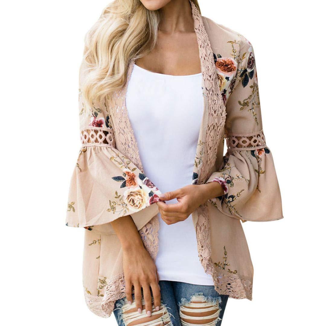 Pandaie Womens Jacket,Women Lace Floral Open Cape Casual Coat Blouse Kimono Jacket Cardigan KH/XXL