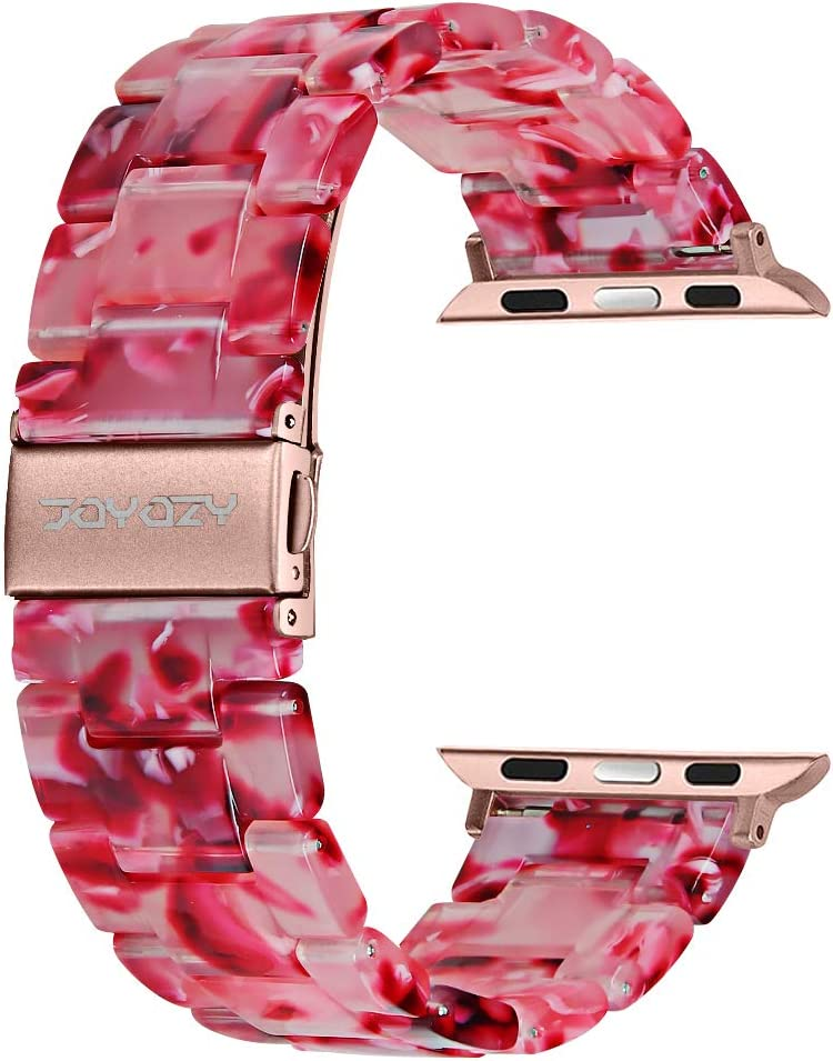 Joyozy Compatible with Apple Watch Bands 42mm 44mm, Resin Wristbands Replacement for iWatch SE& Series 6/5/4/3/2/1 for Women Men Gift Fashion Bracelet- (42mm/44mm, Peach Red)