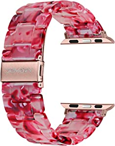 Joyozy Compatible with Apple Watch Bands 38mm 40mm 42mm 44mm, Resin Wristbands Replacement for iWatch SE& Series 6/5/4/3/2/1 for Women Men Gift Fashion Bracelet-(38mm/40mm, Peach Red)