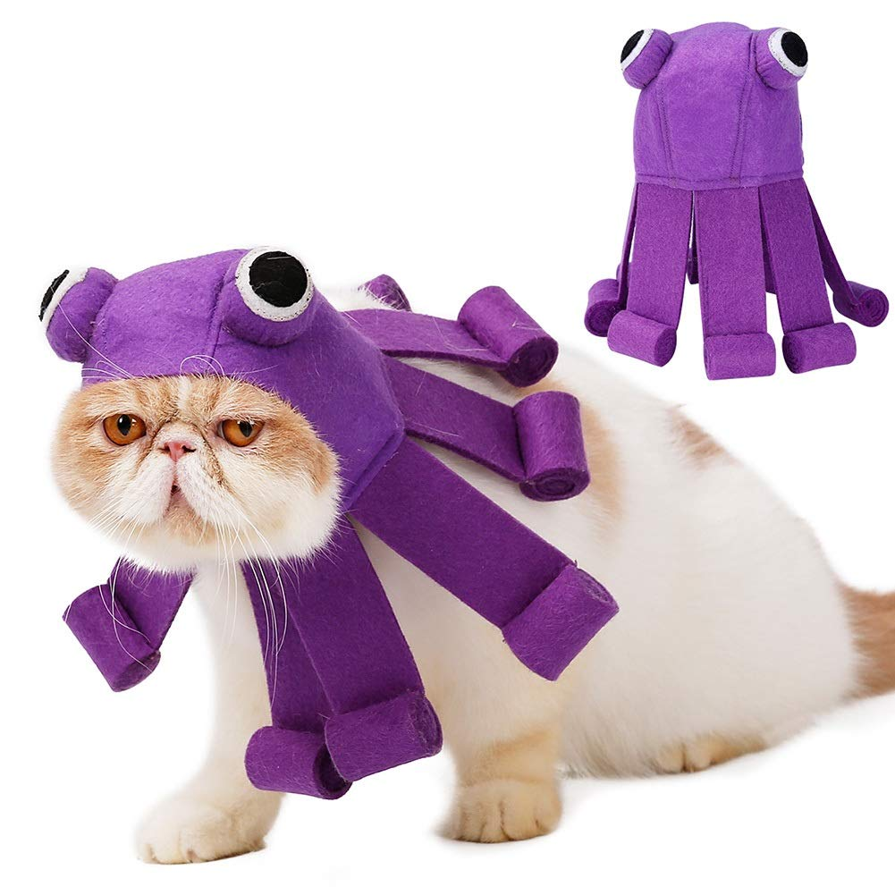 Albabara Pet Halloween Costume Adjustable Hat Octopus Design for Cats Small Dogs Halloween Party Accessory Headwear Cosplay for Birthday Christmas Special Events
