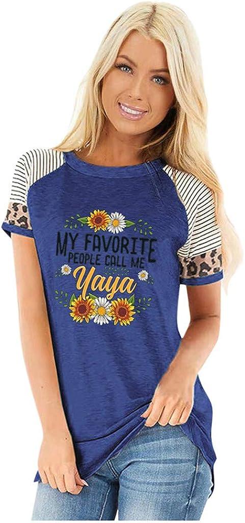 iHHAPY Sweatshirts Women's Crewneck T-Shirt Elegant Tops Sport Tee Summer Blouse Casual Stripes Shirt Patchwork S-3XL