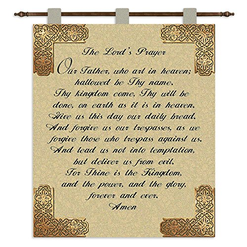 Lords Prayer Tapestry (Pure Country Weavers The Lords Prayer Wall Tapestry 3177-WH 26 inches wide by 32 inches long, 100% cotton)