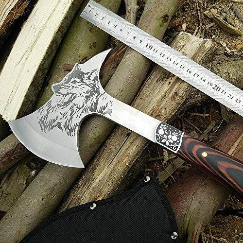 CoolPlus Outdoor Full Tang Survival Camping Hatchet, Tactical Camp Axe with Sheath, Satin Polished Axe Head with Spike and Wolf Pattern, Rose Wood Handle, Perfect for Hiking Hunting [Genuine Products]