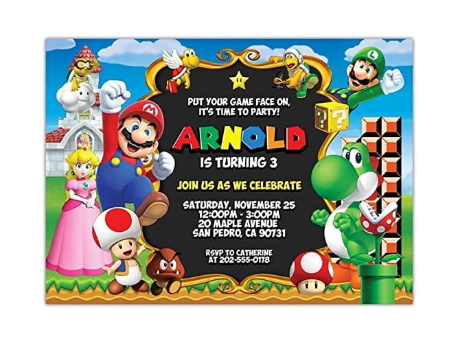 Amazon super mario birthday party invitations any age custom super mario birthday party invitations any age custom filmwisefo