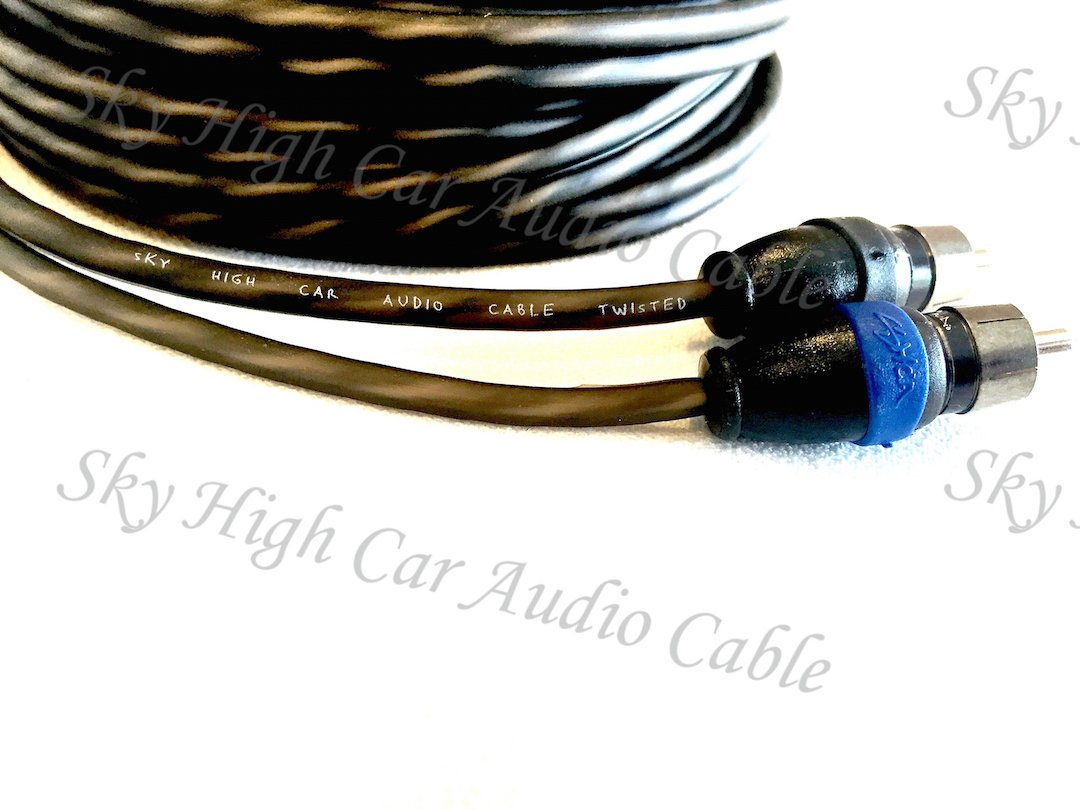 Sky High Car Audio 2 Channel Twisted 20 ft RCA Cables Coated 20' OFC