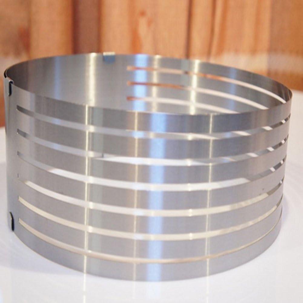 Edelstahl Tortenschneider verstellbar rund Brotschneider Kuchen Ring Form K/üche DIY Backwerkzeug Free Size silber