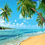 Beach Photography Backdrops Blue Sky Digital Printing Summer Background Seamless Coco Tree Photo Video for Children (10x10ft)