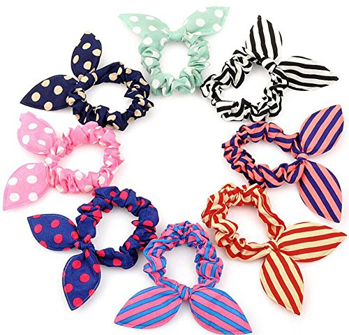 20 PCS Cute Girls Womens Rabbit Ear Hair Tie Bands Ropes Ponytail Holder Elastic Cotton Stretch Hair Styling Tools Headband Scrunchie Hair Acdessories (Color Random)