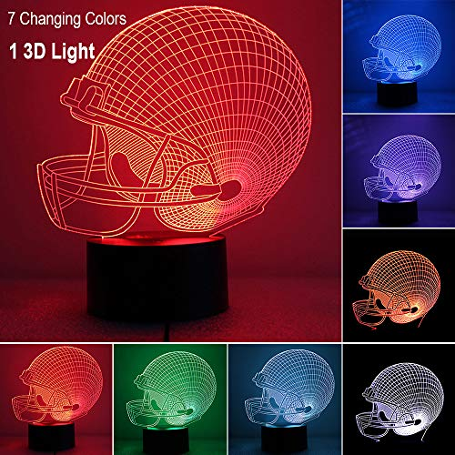 (FLYMEI 3D LED Night Light, Illusion Desk Lamp 7 Colors Changing, Football Helmet Light with USB Cable for Party, Home Decor, Bedside Table for Kids Best Birthday)