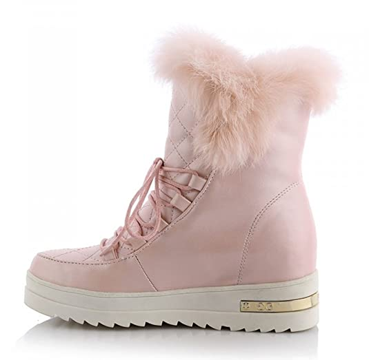 Women's Trendy Warm Fluffy Round Toe Elevator Dress Platform Ankle Snow Boots Lace Up Booties Shoes