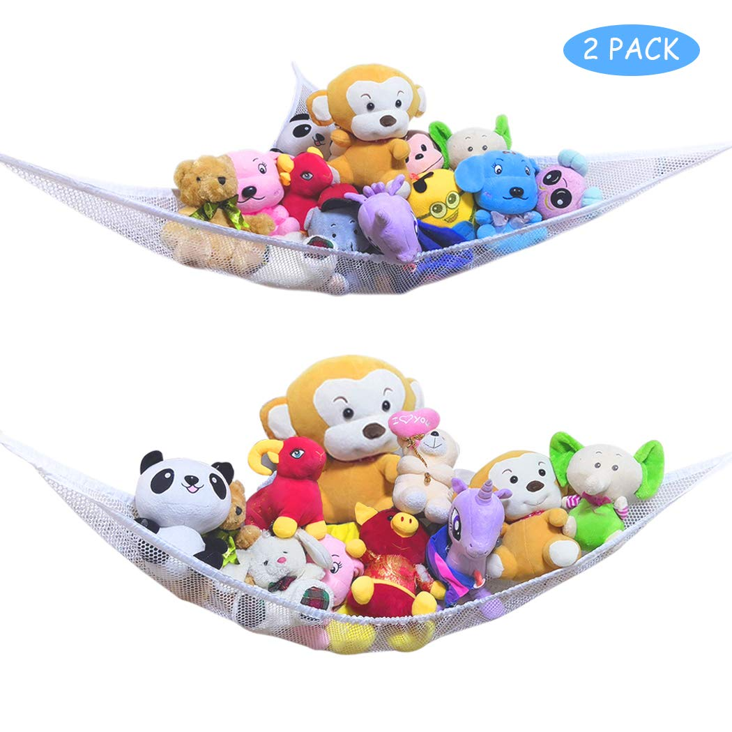 HEA GH Toy Hammock -2PACK- Organize Stuffed Animals or Children's Toys with Mesh Hammock- Toy Storage Organizer for Stuffed Animals (White)