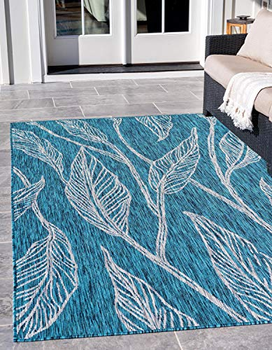 Unique Loom Outdoor Botanical Collection Casual Leafs Transitional Indoor and Outdoor Flatweave Teal  Area Rug (7' 0 x 10' 0)
