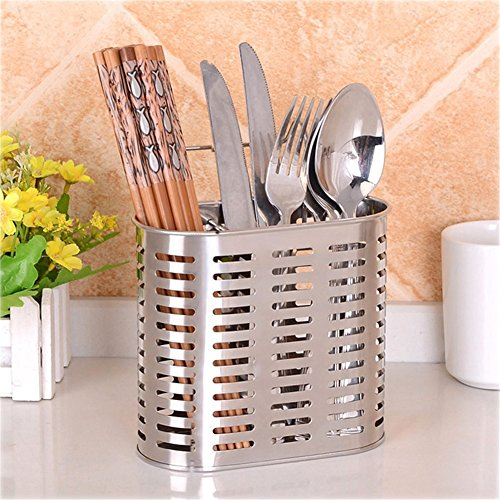 Simonshop Stainless Steel Cutlery Draining Racks Metal Hanging Chopsticks Spoon Cage Holder Kitchen Gadgets (Style A)