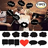 Photo Booth Props 11 PCS Wedding Sign BizoeRade ChalkBoard Bubble Prop With Sticks for Wedding(Large Size)