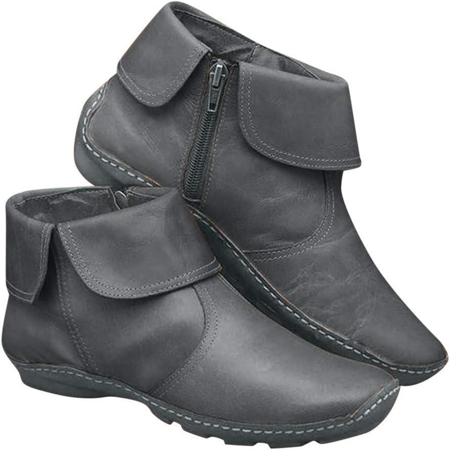 Kiyotoo Womens Arch Support Boots Casual Comfy Non-Slip PU Leather Booties Zipper Lightweight Soft Short Flat Heel Boots Beige