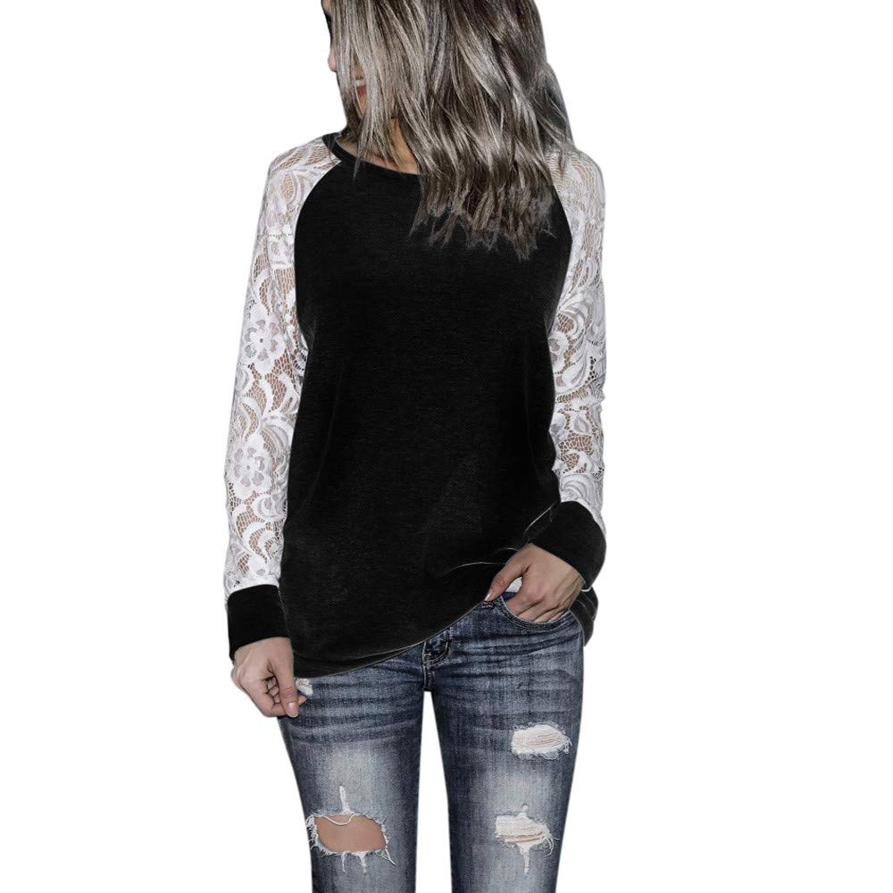 Kehen New Womens Casual Lace Sleeve Pullover Crop O-Neck T-Shirt Blouse Tops Black US:8