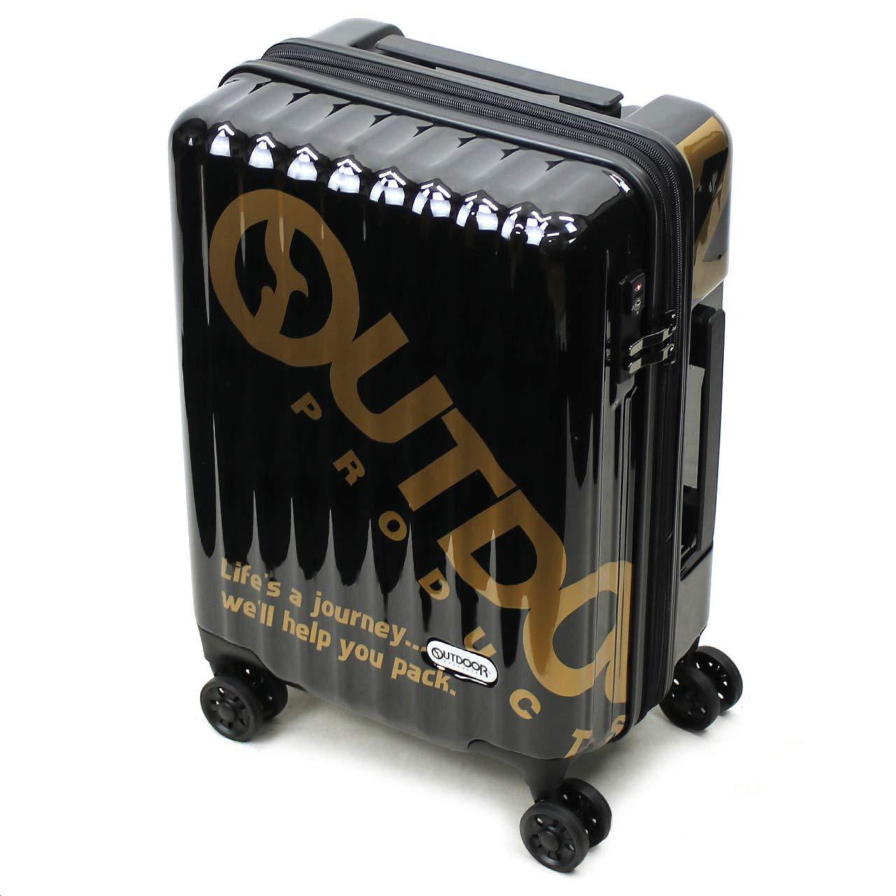 [OUTDOOR PRODUCTS(アウトドアプロダクツ)] スーツケース 38~43L 48cm 3kg 機内持ち込み OD-0796-48  ブラック/ゴールド B07QC75GJD