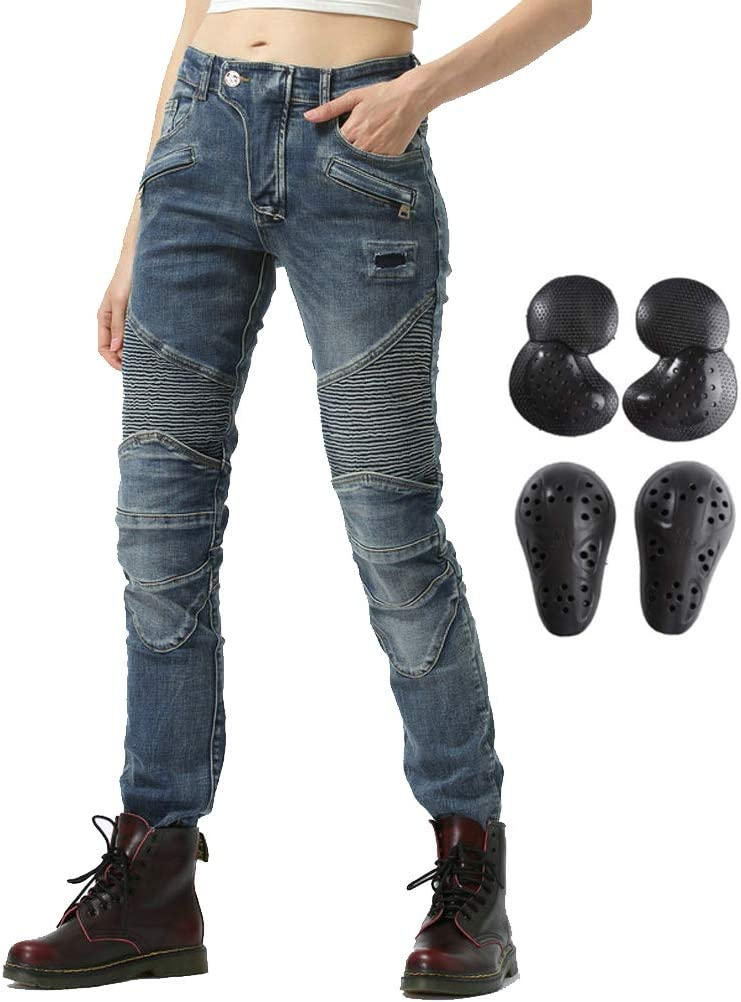 =Waist 26.5 Women Street Motorcycle Riding Pants Motocross Racing Protective Jeans with Knee Hip Pads XXS 24