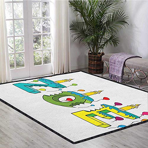 Zoe Super Soft & Cozy Rugs,Colorful Festive Social Gathering Themed Girl Name Design with Birthday Candles Pattern Maximum Absorbent Soft Multicolor 47