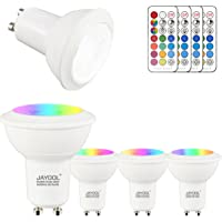 Jayool GU10 LED Bulbs, Dimmable 3W Colour Changing Spot Light Bullb with Remote, RGB + Daylight White, Timer, 45° Beam Angle (Pack of 4)