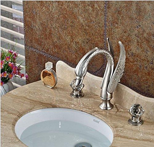 GOWE Brushed Nickel Deck Mount Bathroom Basin Sink Faucet Dual Handle 3 Holes Hot Cold Mixer Taps 4