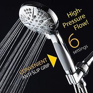 NOTILUS Giant High-Pressure 6-setting Luxury Rain/Handheld Shower Head - Anti-Slip Grip, Metal Fittings, Anti-Clog Jets, Heavy-Duty Stainless Steel Hose - All-Chrome Finish,Lifetime Warranty
