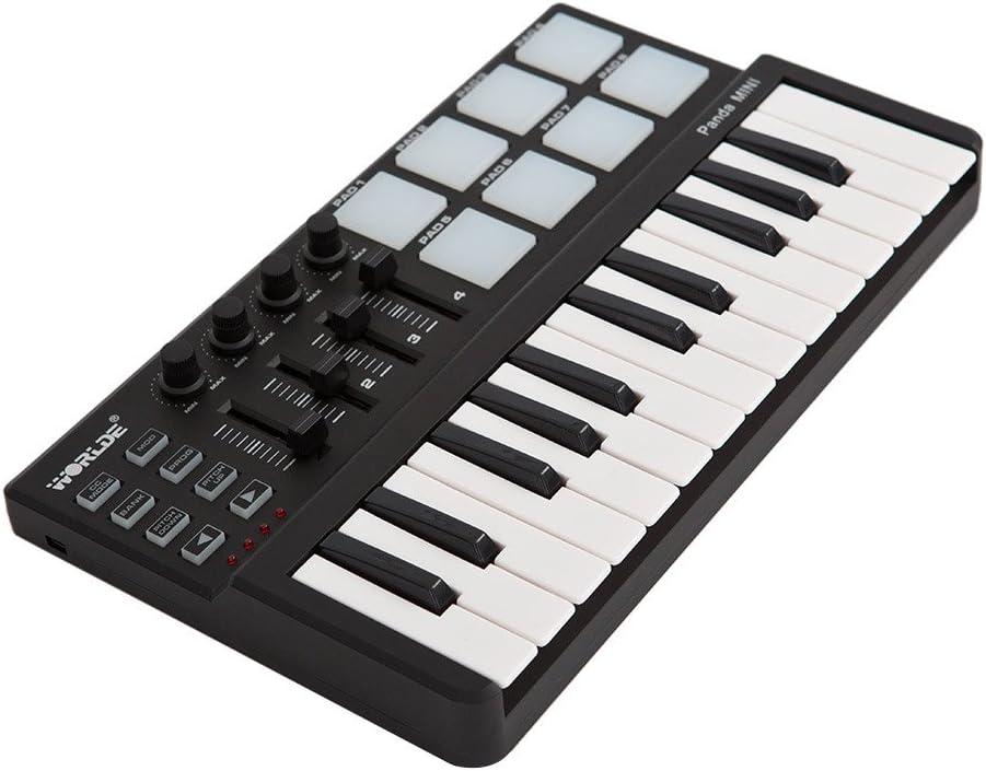 ammoon Worlde Panda Mini Portátil Mini 25-Key Teclado USB y el Controlador MIDI Pad Drum