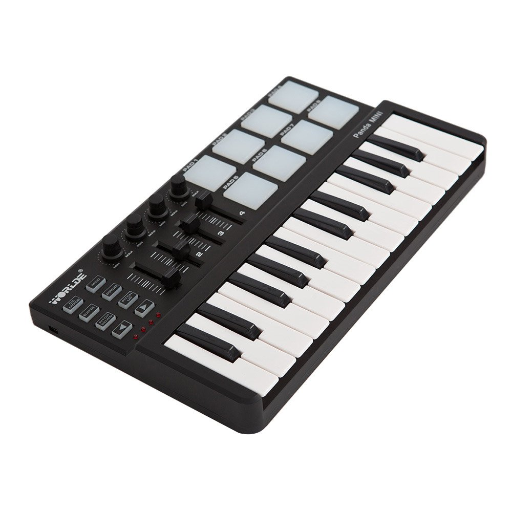ammoon Worlde Panda mini Portable Mini 25-Key USB Keyboard and Drum Pad MIDI Controller