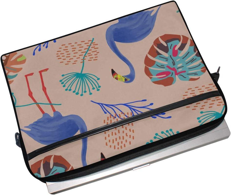 Briefcase Messenger Shoulder Bag for Men Women College Students Business Peopl Laptop Bag Tropical Flamingos Exotic Leaves 15-15.4 Inch Laptop Case